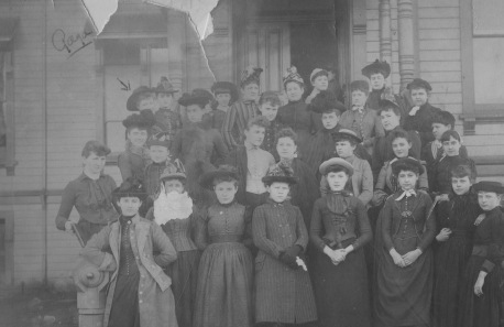 Georgia Gill (top left) attending Annie Wright Seminary, Tacoma, c. 1890